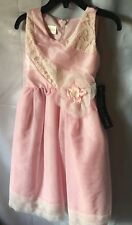 Isobella and Chloe Girls Pink Lace And Sheer Netting Empire Dress Sze 5-New