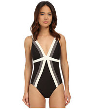 MIRACLESUIT SPECTRA TRILOGY ONE PIECE SWIMSUIT BLACK WHITE SIZE 8 NEW! $150
