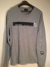 VTG 1990's Nautica Long Sleeve T-Shirt XL Gray W/3M  Spell out