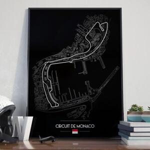 Circuit de Monaco Race Track Art Poster 17x24 inch size