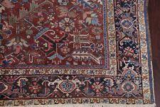 Antique All-Over Heriz Serapi Area Rug Vegetable Dark Rust Wool Carpet 8x11