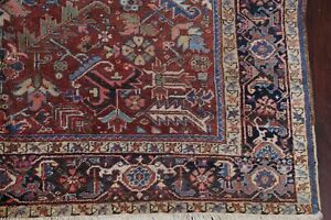 Antique All-Over Heriz Serapi Area Rug Vegetable DARK RUST Wool Carpet 8x11
