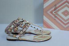 New sz 6.5 / 36.5 Valentino Native Leather Stud Rockstud Ankle Sandal Flat Shoes
