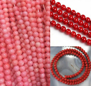 """3-4/ 6-7mm Fine Natural Red/ Pink Japan Sea Coral Gems Round Loose Beads 15"""" AAA"""