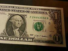 $1 FANCY LADDER SERIAL # F24443556N UNCIRCULATED