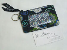 Vera Bradley MOD FLORAL BLUE Zip ID COIN Change Keyring CASE for PURSE Tote EUC