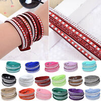 Women Wristband Cuff Wrap Multilayer Crystal Rhinestone Bracelet Bangle BE