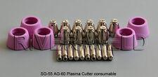 SG55 AG60 Plasma Cutter Torch Consumable Plasma Electrode Tips 1.2mm 60Amp 25pcs