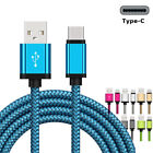 1/2/3m Weave Charging Cable iOS/Android Sync Data Cord For iPhone 8 7 6 Plus 5
