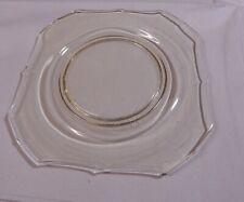 "6  Antique Depression Glass Topaz Square Plates 8 1/2"""