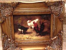 Country French Framed Oil Painting-Roosters In The Barn