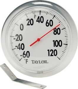 """Taylor 5630 6"""" Round Dial Indoor / Outdoor Thermometer w/ Mounting Bracket"""