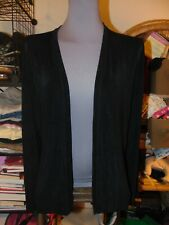 CHICO'S TRAVELERS 2 SILKY BLACK CARDIGAN TOP Large XL Long Sleeve Jacket L NICE
