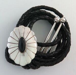 Sterling Silver & Black Onyx Scalloped Edge Sunburst Stamped Bolo Tie