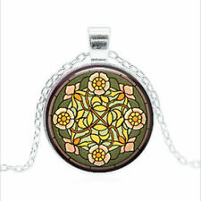 Wild Rose Stained Tibet silver Glass dome Necklace chain Pendant Wholesale