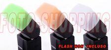 KIT DIFFUSORE FLASH PER CANON 3 COLORI SPEEDLITE 580EX II BIANCO GIALLO VERDE