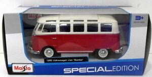 Maisto 1/25 Scale Diecast 31956 - Volkswagen Van Samba - Red/White
