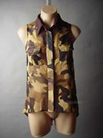 Sale Desert Camo Camouflage Print Studded Collar Sheer Top 33 mv Blouse S M L XL