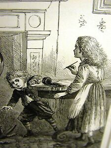 Eytinge MISCHEIVOUS BOY & GIRL WRITING COMPOSITION 1870 Antique Engraving Matted