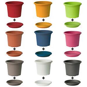 9 Farben 12 Größen Blumentopf mit Untersetzer Pflanzkübel Topf Kübel Blumentöpfe