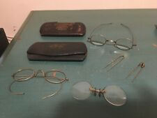 Lot Of 3 Antique Vintage Oval Wire Rim Eyeglasses Round Pince Nez Cases Hairpins