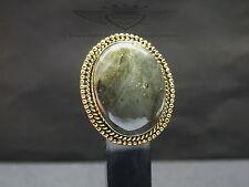 Ring 925 Silber blauer Feuer Labradorit, 24 Karat vergoldet, Edelstein, Chakra