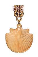 Scallop Shell Seashell Beach Rose Gold Dangle Charm for European Bead Bracelets