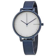 Skagen Hagen White Dial Ladies Blue Ion Plated Mesh Watch SKW2579