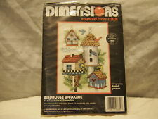 """Birdhouse Welcome 5""""X7"""" """"Dimensions"""" Counted Cross Stitch Kit, with floss, ."""