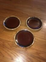 "3 Hull Pottery USA Salad Bread Side Plates 6.5"" Brown Drip Glaze Vintage"