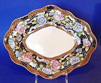 Noritake Large Scalloped Bowl - Black Imari & Gold Border - Pink Blue Mums Japan