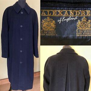 "ALEXANDRE OF ENGLAND Long Dark Navy Black Coat Chest 46"" Large Cashmere Wool"