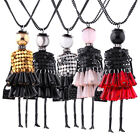 Women Vogue Crystal Tassel Doll Charm Pendant Alloy Necklace Sweater Chain Gift