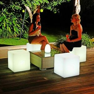 Light Up LED Colour Changing Cube Stool Seats Chairs Watertight Bar Party Scene