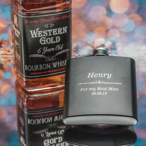 Personalised Engraved Hip Flask Steel Black 6oz Birthday, Xmas Retirment Gift !!