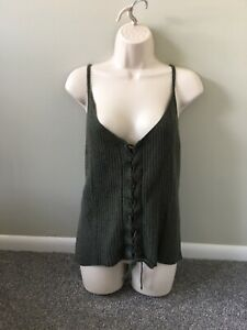 American Eagle Outfitters Green Knit Lace Up Tank (XXL)