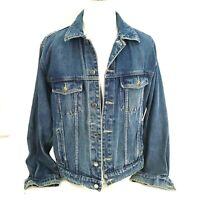 Wrangler Hero Mens Denim Jacket Blue Jean Trucker Large L Button-Front