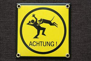 Schild Warnung ACHTUNG Hund Hundeschild Warnschild bissiger EMAILSCHILD 12x12 cm