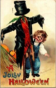 Vintage Boy w/ Scarecrow Embossed Halloween Signed Clapsaddle Postcard B785