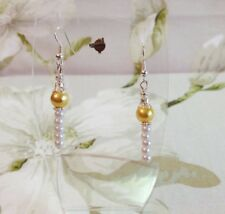 Pretty Mustard Yellow and White Glass Pearl Beads Dangle Pierced Earrings