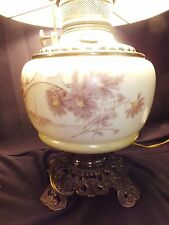 "Antique Hand Painted Oil Lamp 10"" Satin Milk Glass Hurricane Shade Converted"