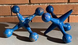 Vintage 60s 70s Blue Sculptural Cast Iron Jax Jacks Bookends Mid Century Modern