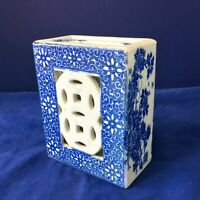 """CHINESE PILLOW HEADREST BLUE FLORAL CHRYSANTHEMUM DBL RING HAPPINESS 6""""H"""