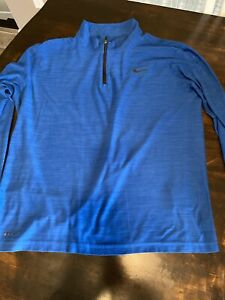 Nike Pullover Mens Large Blue Authentic Dri Fit Quarter Zip Golf