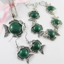 3pce Bold Statement Resin Fish Necklace Bracelet & Earring Set