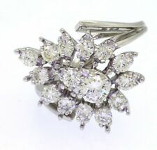 14k white gold 2.10ct VS diamond cluster cocktail ring size 8 with 0.42ct center