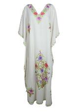 Boho Womens White Kaftan Maxi Dress Floral Embroidered Summer Cotton DRESSES 3X