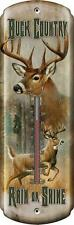 Buck Country Rain or Shine Graphic Indoor Outdoor Metal Thermometer