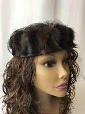 Vtg Women's Mink Hat Dressy Fur Pillbox Art Deco 1920s 30s 1940s Fascinator Net