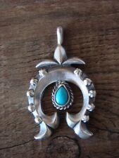 Navajo Sterling Silver Turquoise Naja Pendant- Sharon McCarthy
